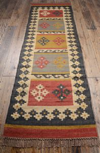 Indian Rug~ Ethnic Indian Alwar Wool & Jute Kilim 75x240cm Hallway Rug~Fair Trade R4824